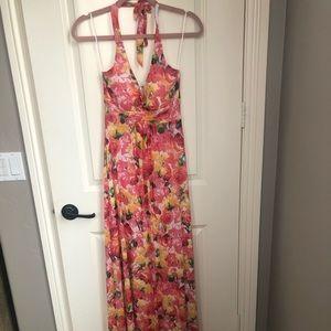 Cache Floral Halter Maxi Dress